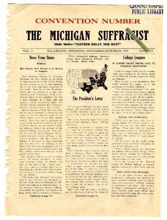 The Michigan Suffragist,December 1916