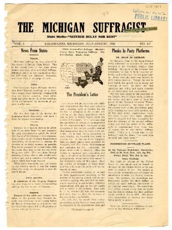 The Michigan Suffragist,August 1916