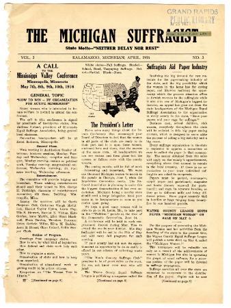 The Michigan Suffragist, April 1916