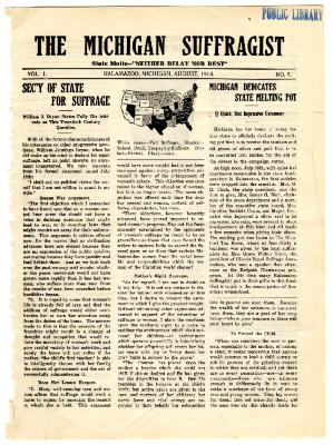 The Michigan Suffragist, August 1914