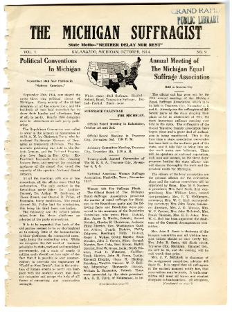 The Michigan Suffragist, October 1914