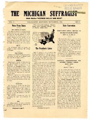 The Michigan Suffragist, September 1916