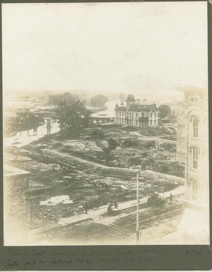 Grand River view. Filling east channel - 1870