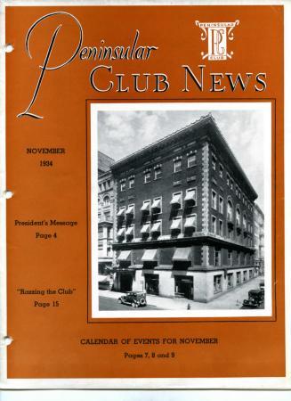 Peninsular Club News, November 1934