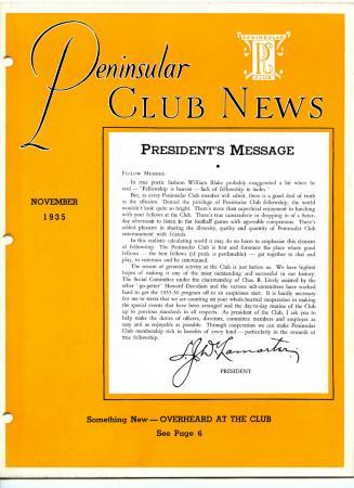 Peninsular Club News, November 1935