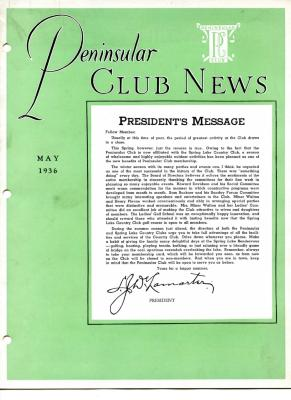 Peninsular Club News, May 1936
