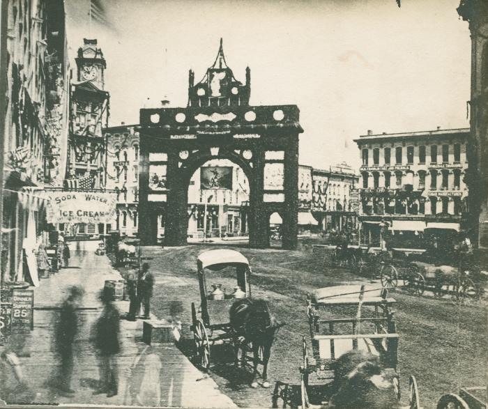 Campau Square view, 1876