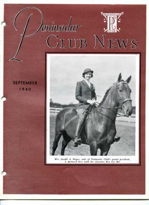 Peninsular Club News, September 1940