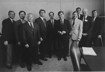 Presidential Candidate Michael Dukakis visits GVSU Eberhard Center