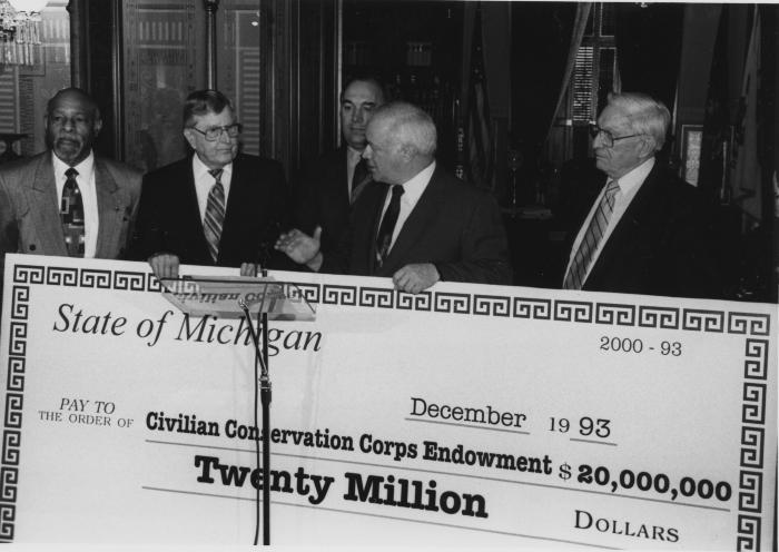 Presentation of check to Civilian Conservation Corps Endowment