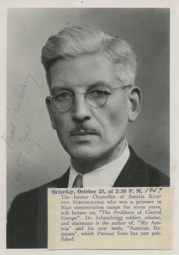 Presenter - Kurt von Schuschnigg