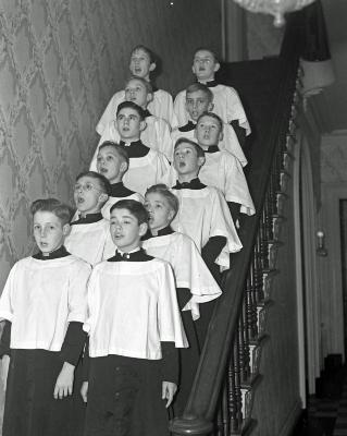 Boys choir singing at Women's City Club-Trinity M.E. Church