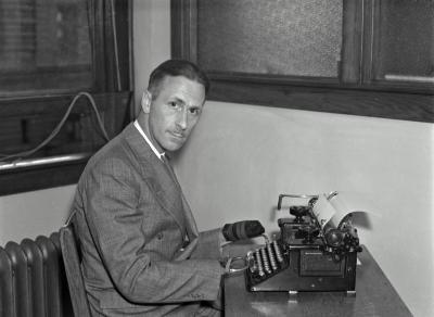 Rehabilitation League, man at typewriter