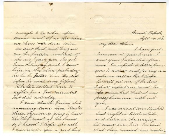 Letter from Cassie to Clara Comstock Russell (September 14, 1880)