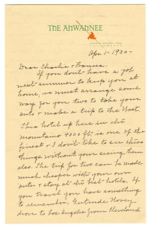 Letter from Clara Comstock Russell to Charles C. Russell (Apr 1, 1930)