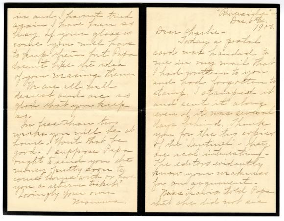 Letter from Clara Comstock Russell to Charles C. Russell (December 6, 1900)