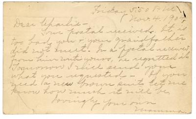 Letter from Clara Comstock Russell to Charles C. Russell (November 4, 1904)