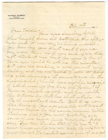 Letter from Clara Comstock Russell to Charles C. Russell (February 19, 1901)