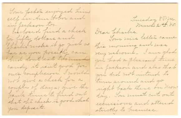 Letter from Clara Comstock Russell to Charles C. Russell (March 21, 1905)