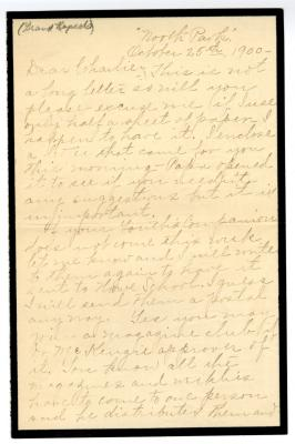 Letter from Clara Comstock Russell to Charles C. Russell (October 25, 1900)
