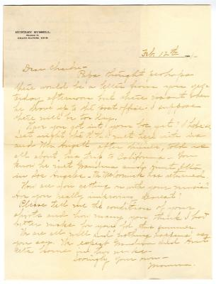 Letter from Clara Comstock Russell to Charles C. Russell (February 12, 1901)