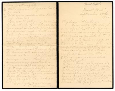 Letter from Clara Comstock Russell to Charles C. Russell (September 27, 1900)