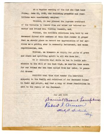 Letter from Clara Comstock Russell to Elizabeth Elson (February 23, 1921)