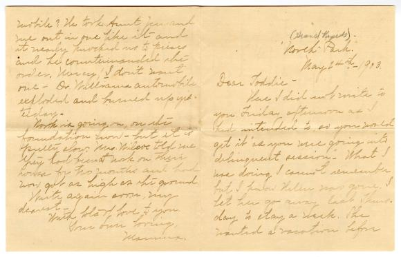Letter from Clara Comstock Russell to Charles C. Russell (May 24, 1903)