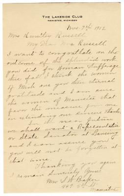 Letter from Mrs. S.W. Baker to Clara Comstock Russell (November 7, 1912)