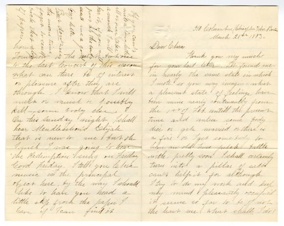 Letter from Unknown to Clara Comstock Russell (March 21, 1883)