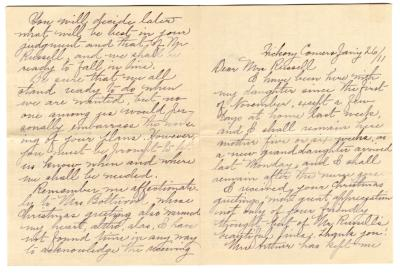 Letter from Unknown to Clara Comstock Russell (January 26, 1911)