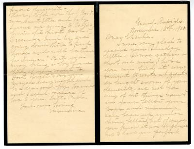 Letter from Clara Comstock Russell to Charles C. Russell (November 15, 1900)