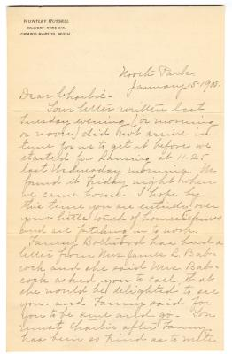 Letter from Clara Comstock Russell to Charles C. Russell (January 15, 1905)