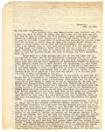 Letter from Clara Comstock Russell to Lt. Francis Thayer Russell (July 18, 1918)