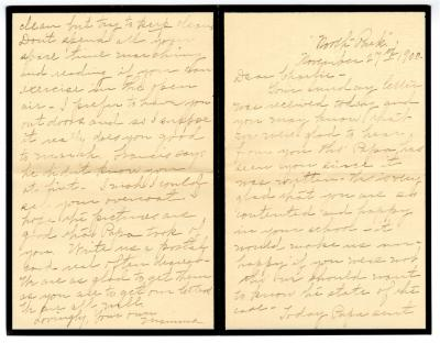 Letter from Clara Comstock Russell to Charles C. Russell (November 27, 1900)