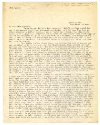 Letter from Clara Comstock Russell to Lt. Francis Thayer Russell (September 10, 1918)