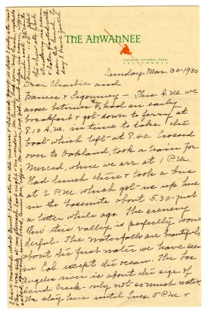 Letter from Clara Comstock Russell to Charles C. Russell (March 30, 1930)