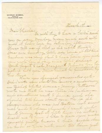 Letter from Clara Comstock Russell to Charles C. Russell (March 1, 1901)