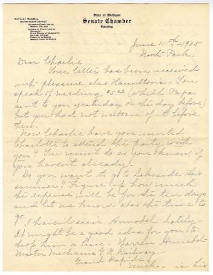 Letter from Clara Comstock Russell to Charles C. Russell (June 11, 1905)