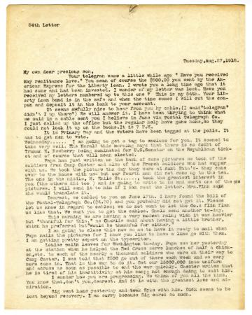 Letter from Clara Comstock Russell to Lt. Francis Thayer Russell (August 27, 1918)