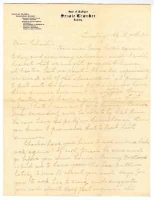 Letter from Clara Comstock Russell to Charles C. Russell (April 4, 1905)