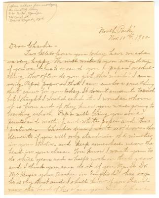 Letter from Clara Comstock Russell to Charles C. Russell (November 10, 1900)