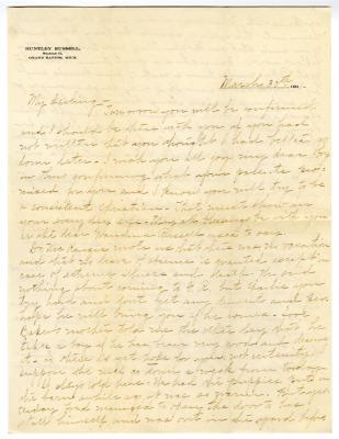 Letter from Clara Comstock Russell to Charles C. Russell (March 30, 1901)