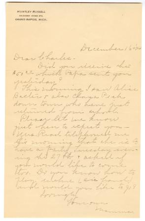 Letter from Clara Comstock Russell to Charles C. Russell (December 16, 1904)