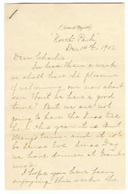Letter from Clara Comstock Russell to Charles C. Russell (December 14, 1902)