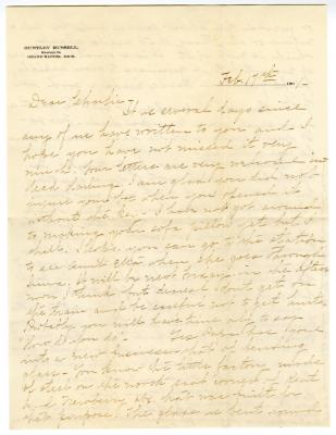 Letter from Clara Comstock Russell to Charles C. Russell (February 17, 1901)