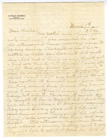 Letter from Clara Comstock Russell to Charles C. Russell (March 7, 1901)