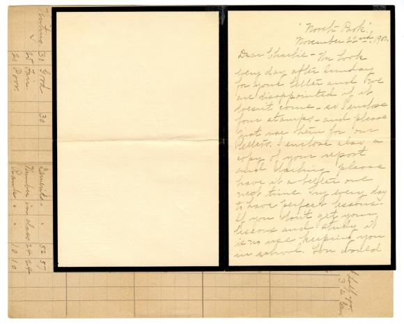 Letter from Clara Comstock Russell to Charles C. Russell (November 22, 1900)