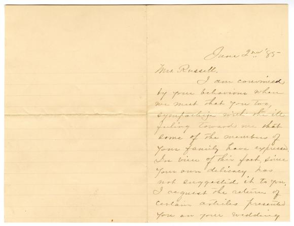 Letter from E. E. Wilson to Clara Comstock Russell (June 2, 1885)