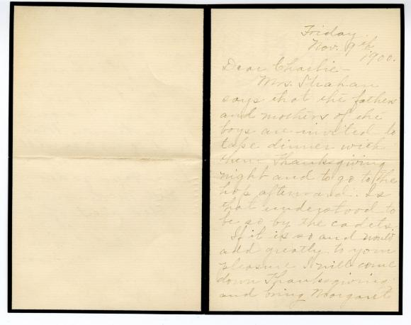 Letter from Clara Comstock Russell to Charles C. Russell (November 9, 1900)